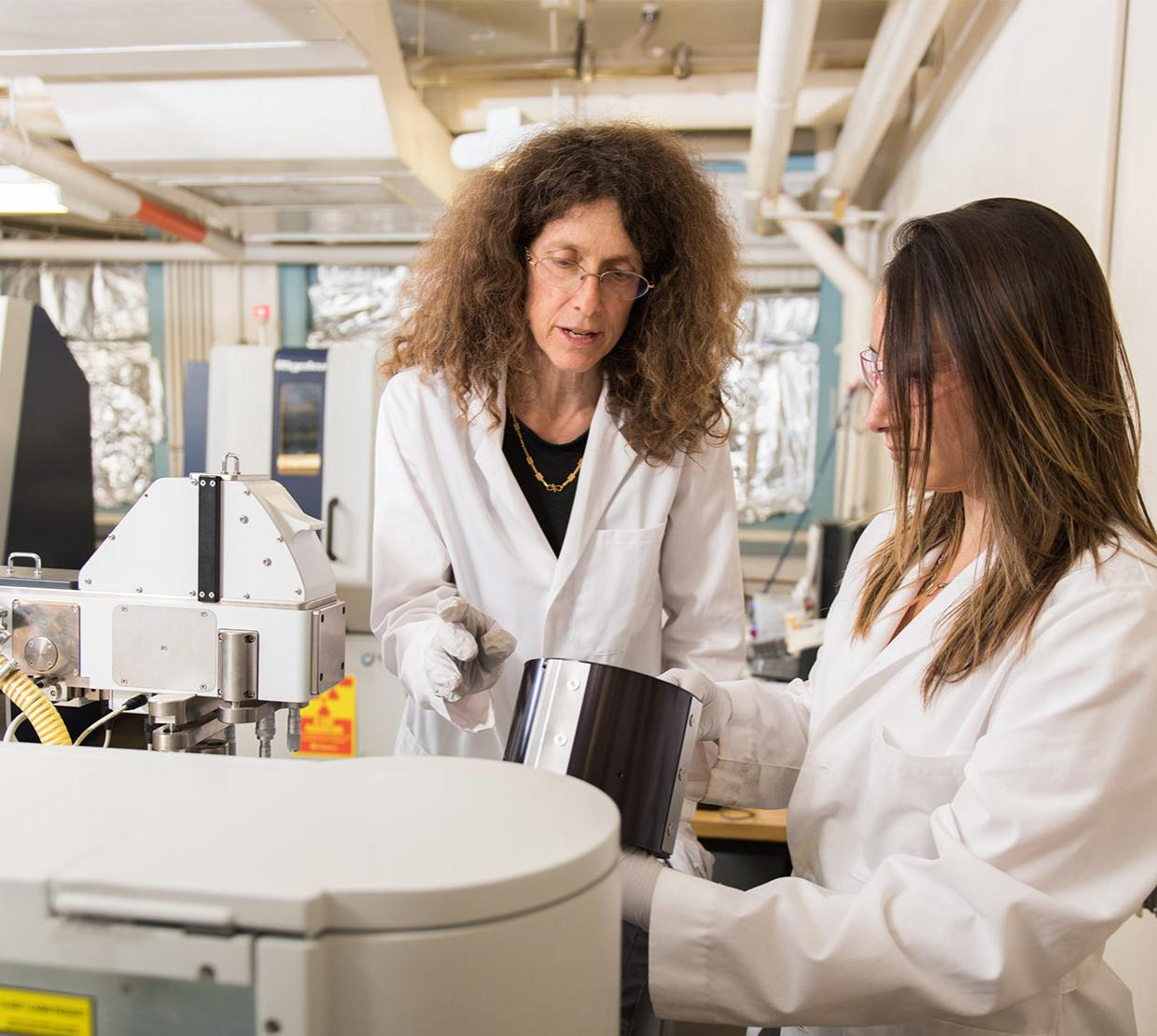 Dr. Nyman in her lab with a student.