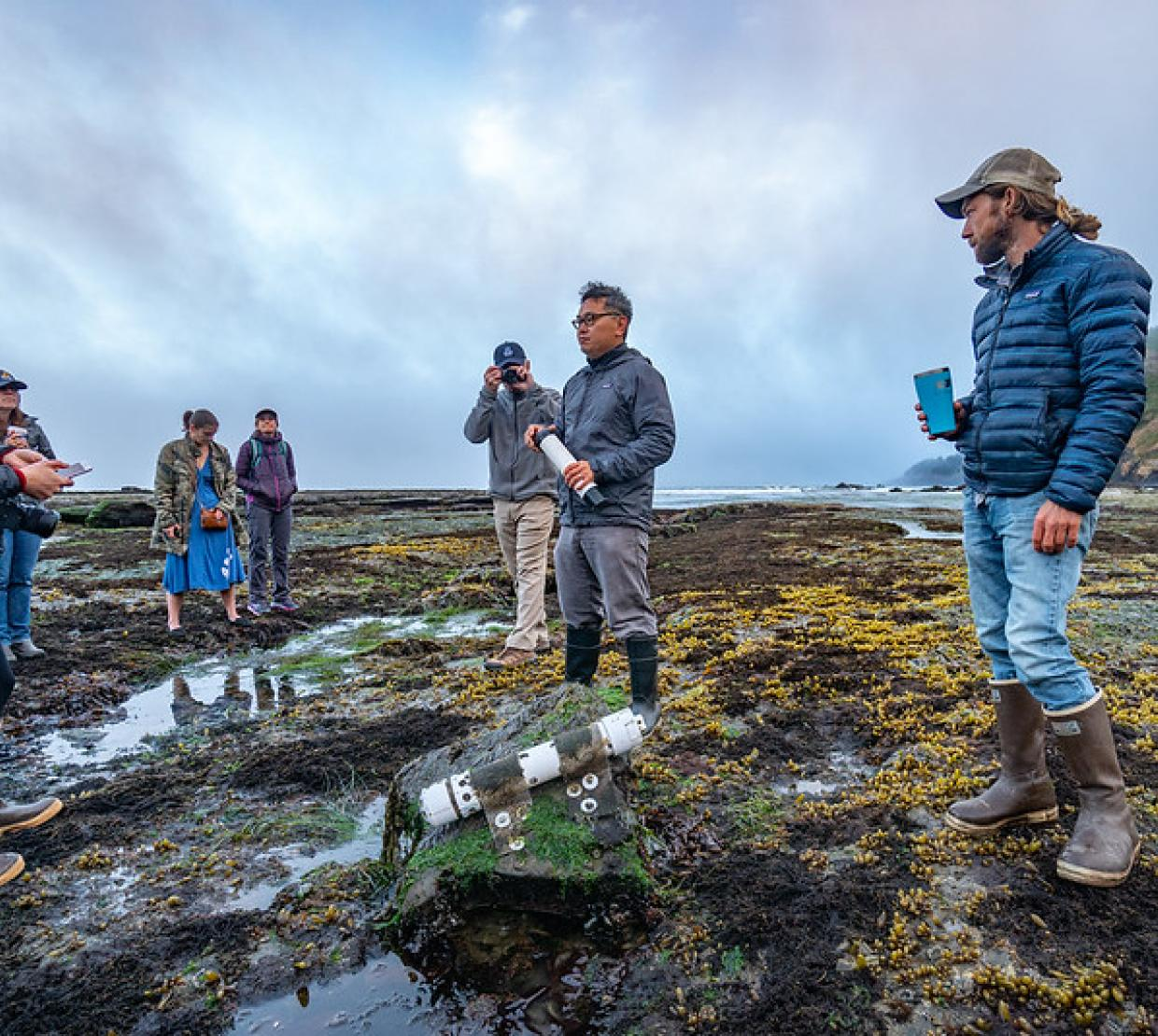 Oregon State marine ecologist Francis Chan and others on the Oregon coast