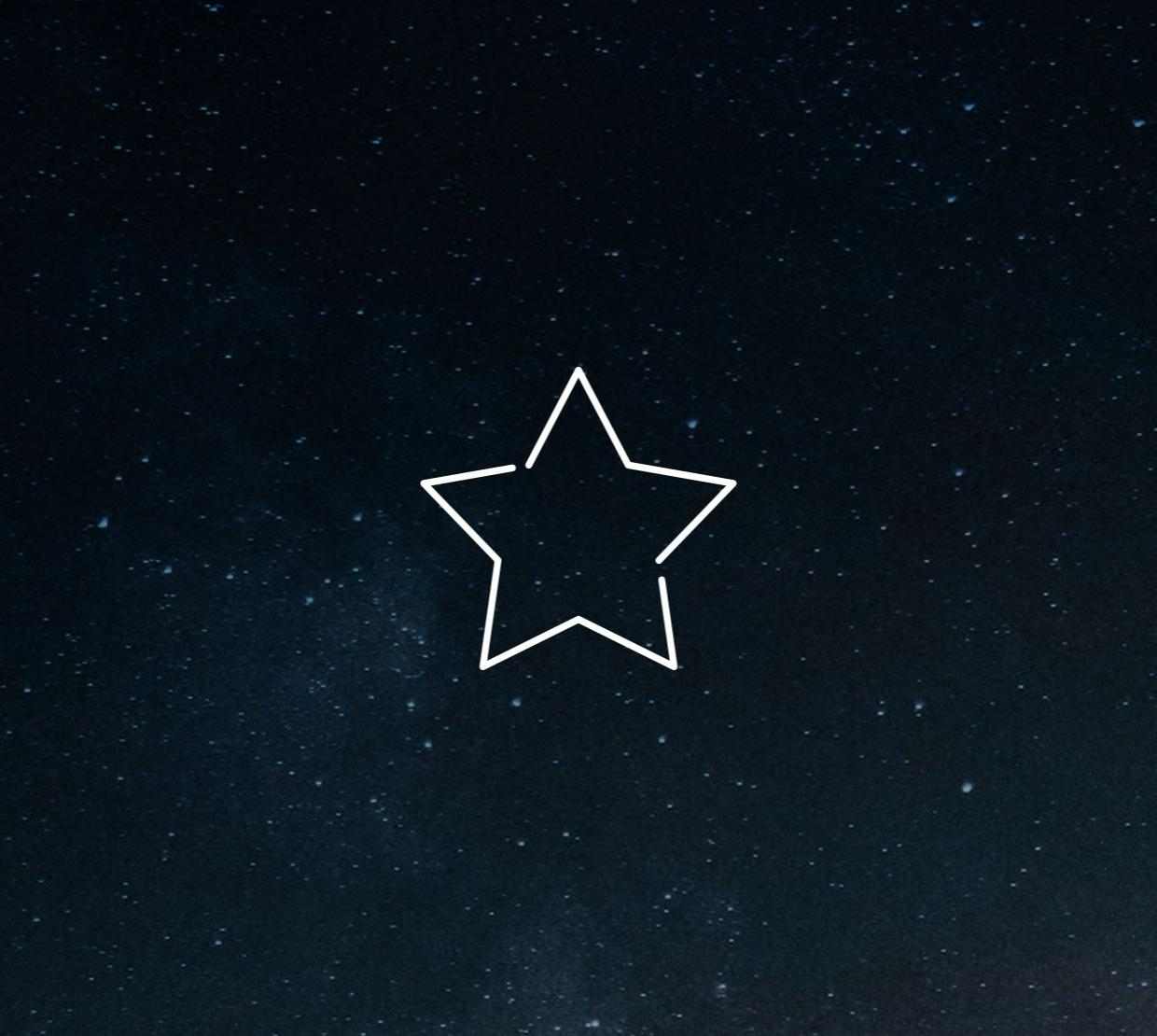 Star icon in front of an image of the night sky.