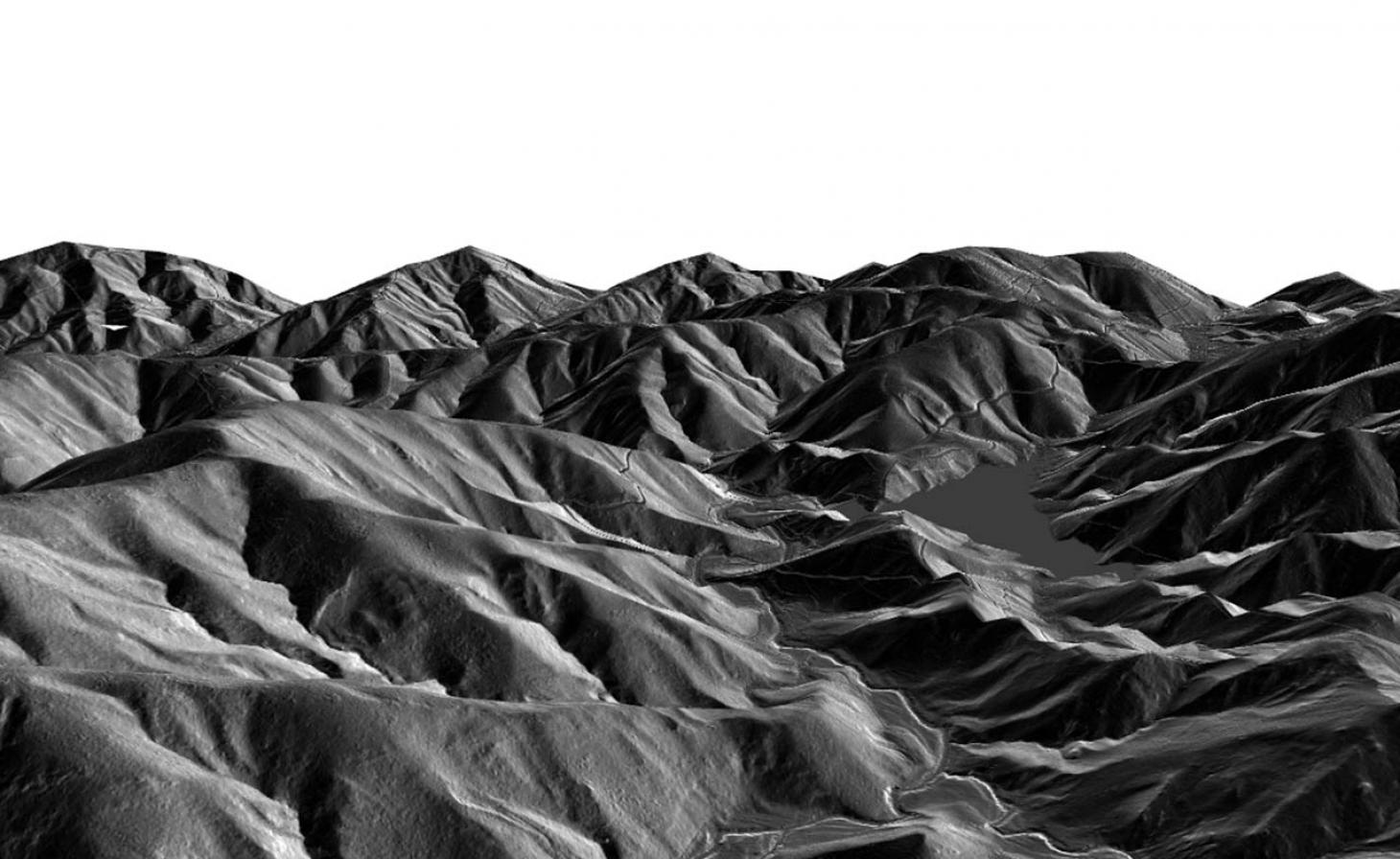 Black and white digital elevation models of mountains and hills