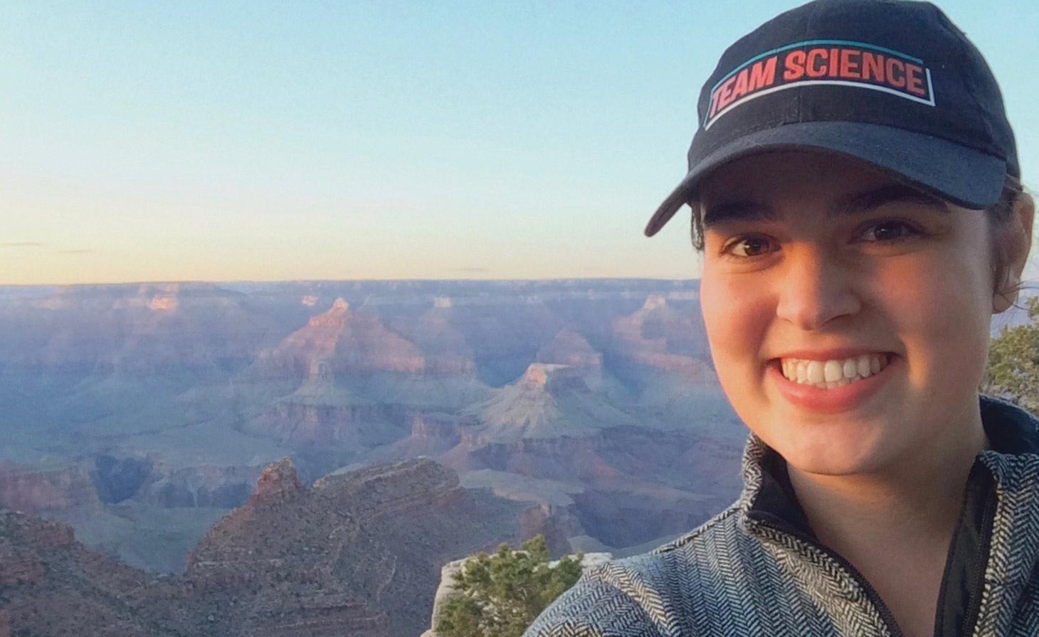 Grace D'Angelo taking selfie in front of the Grand Canyon