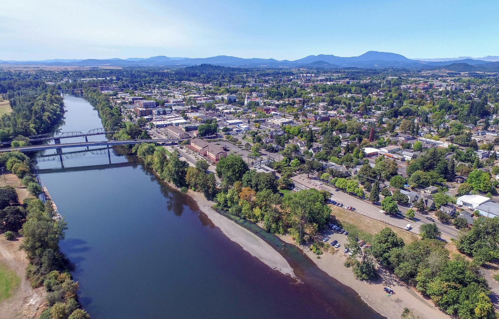 Aerial shot of Corvallis