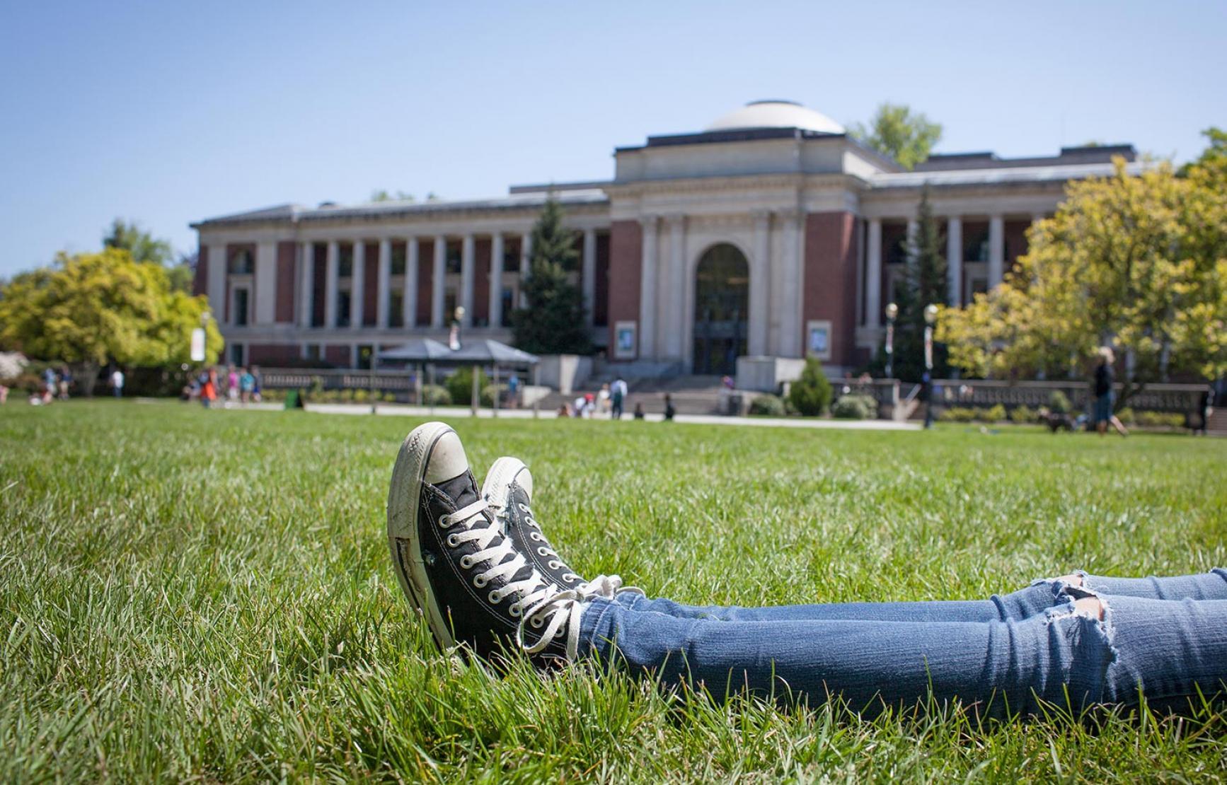 Sitting on MU lawn