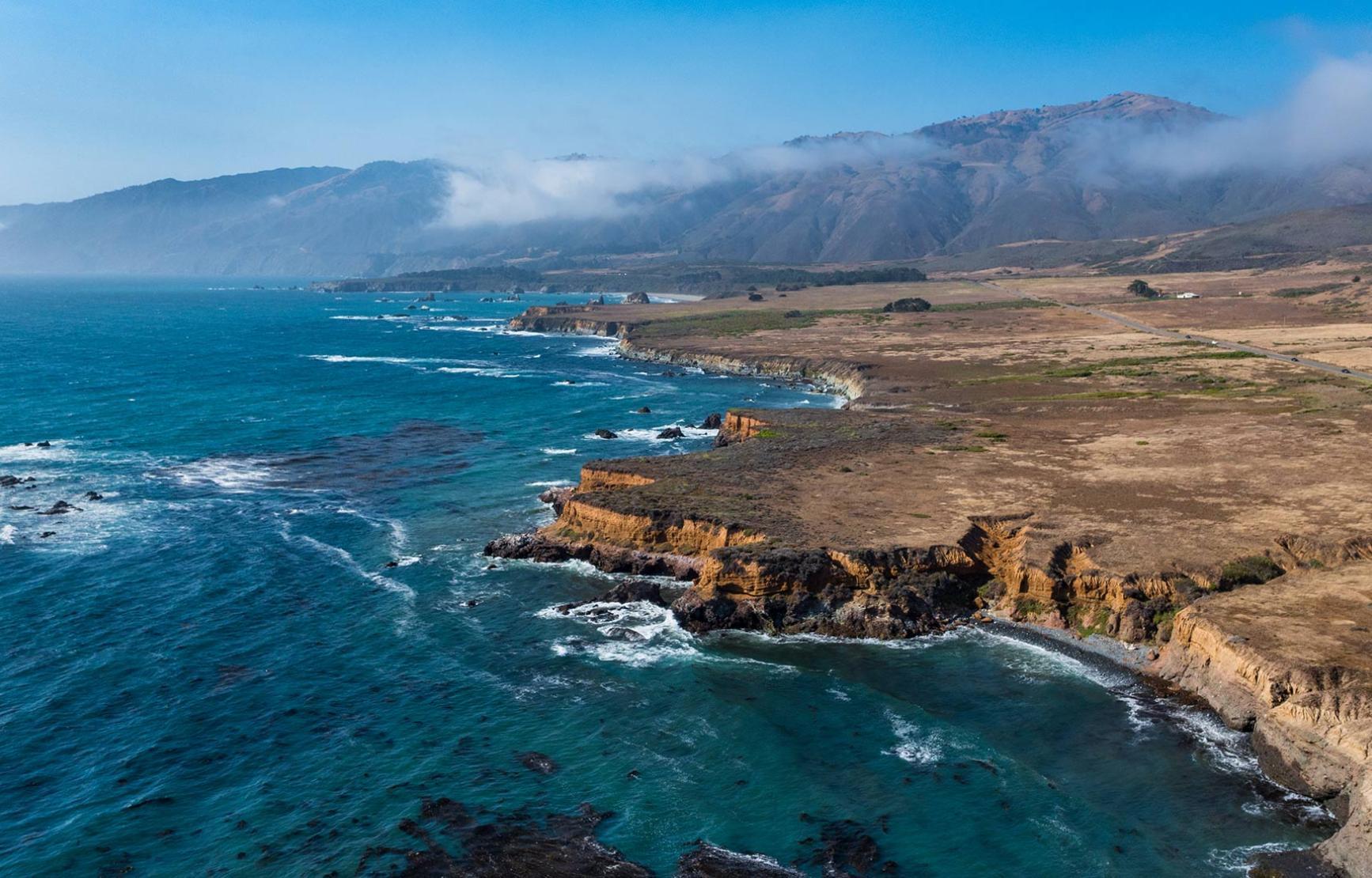 cliffs and oceanside on coastal range