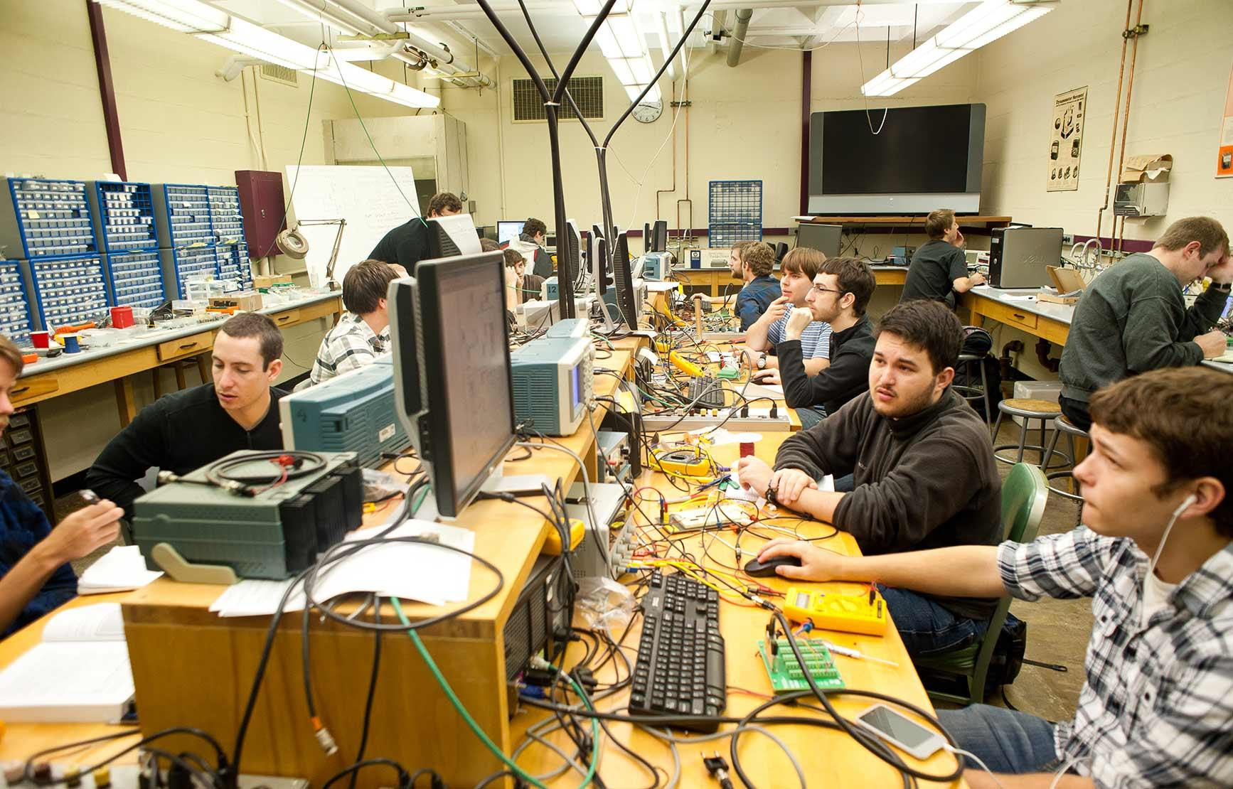 Students working in Electronics Lab