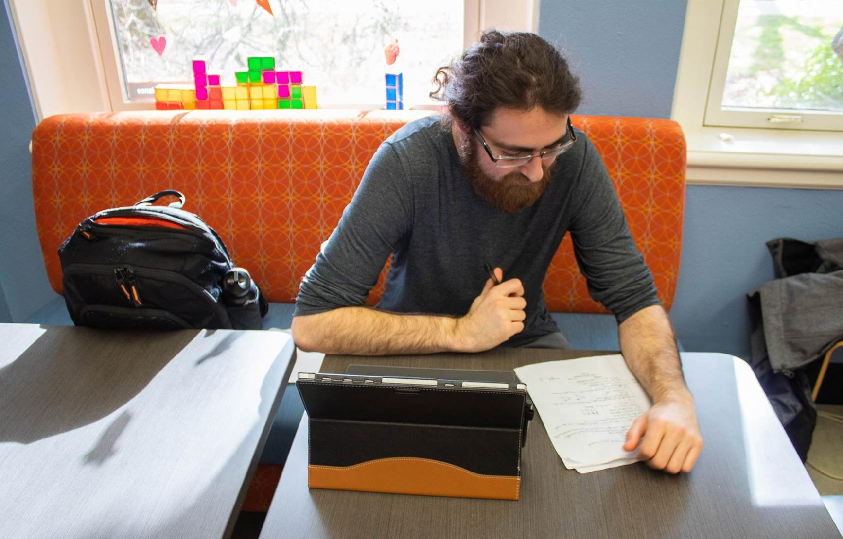 Steve Dobrioglio working on homework in the science success center