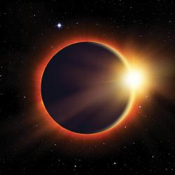 moon covering sun in a solar eclipse