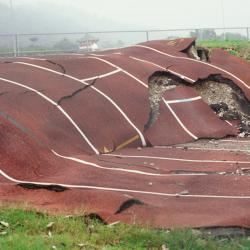 track ripped up from earthquake