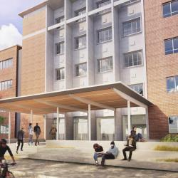 A rendering of Cordley Hall's south entrance