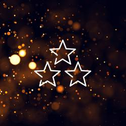 three star icon above light texture