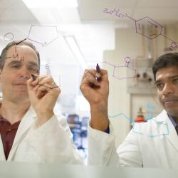 Two chemistry faculty members write equations on a glass board.