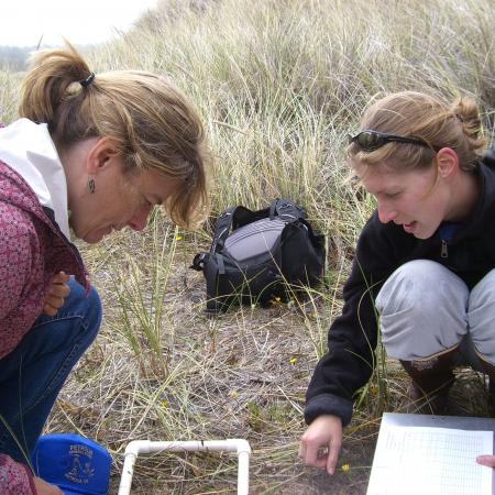 Sally Hacker and a graduate student study beach grasses along the Pacific Northwest coast