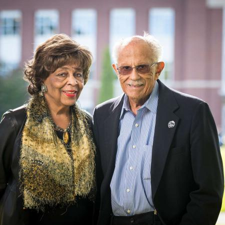 Warren Washington pictured with his wife Mary in front of the Valley Library