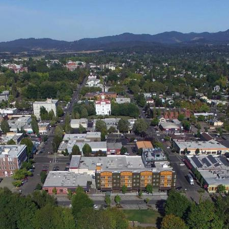 Aerial shot of Corvallis, Oregon.