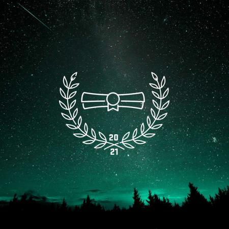 A nighttime sky with an award sign overlaid on top