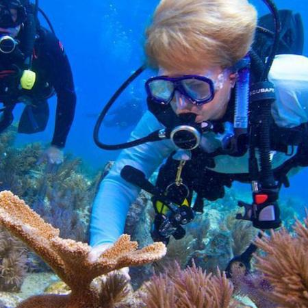 Oregon State marine ecologist Jane Lubchenco examines corals in the ocean