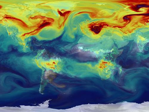 Co2 levels across the earth mapped out by hue colors