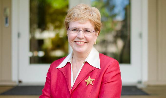 Jane Lubchenco sitting outdoors