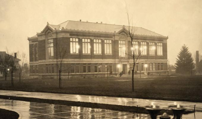 Antique photo of Kidder Hall on a rainy afternoon