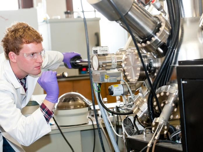 student working in Material Sciences Lab