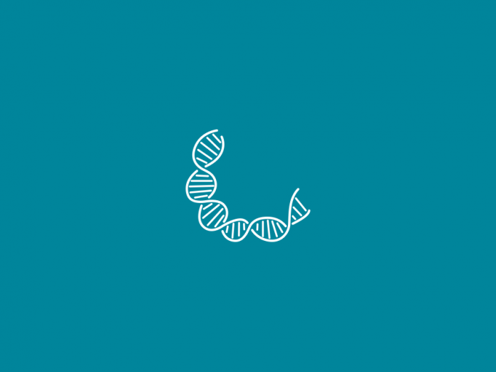 DNA icon above blue backdrop.