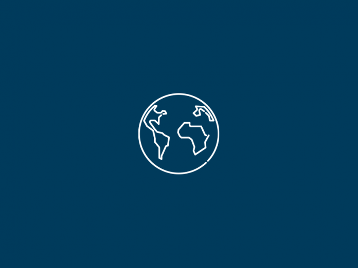 Globe icon above a navy blue backdrop.
