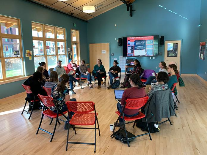 Women in Science OSU members sitting in group circle.