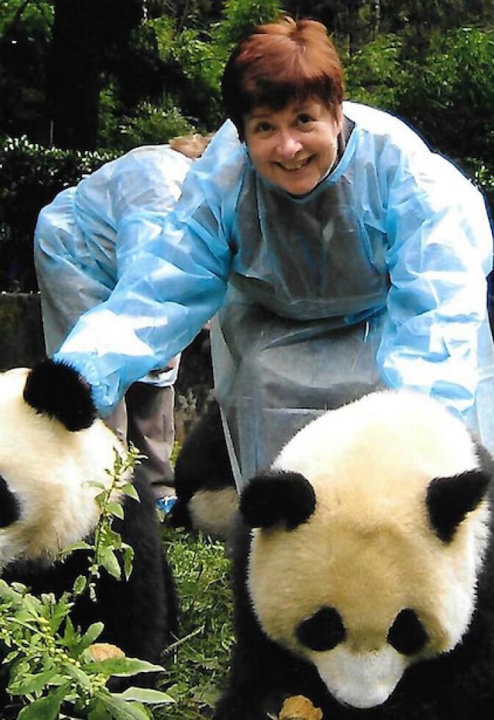 Judy Faucett with pandas