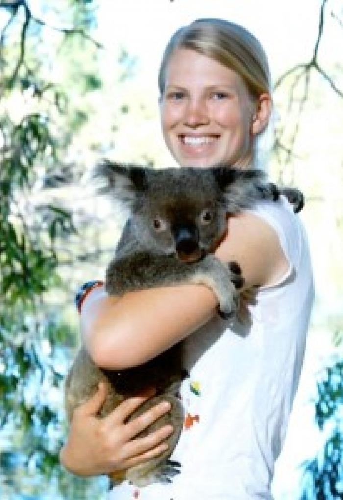 Kenny Kim holding Koala outside