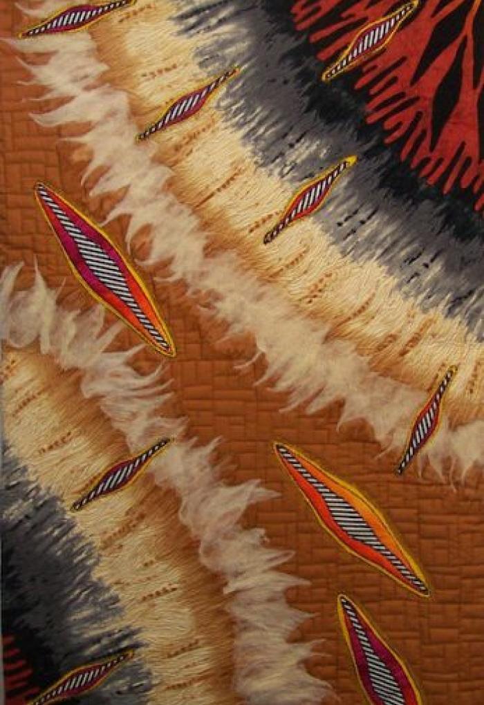 Linda Reichenbach art piece of two spirals, wood-like pattern