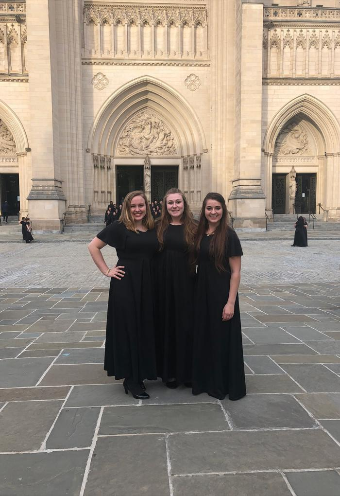 Bloom stands with friends after performing a choir concert in Washington D.C.