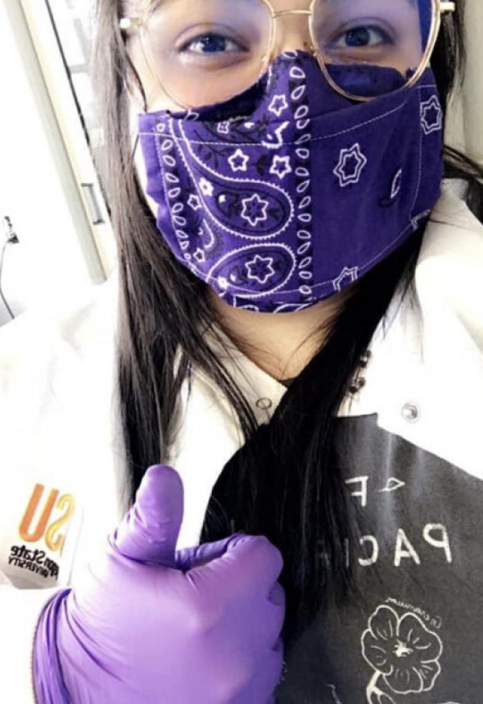 Lopez wearing mask