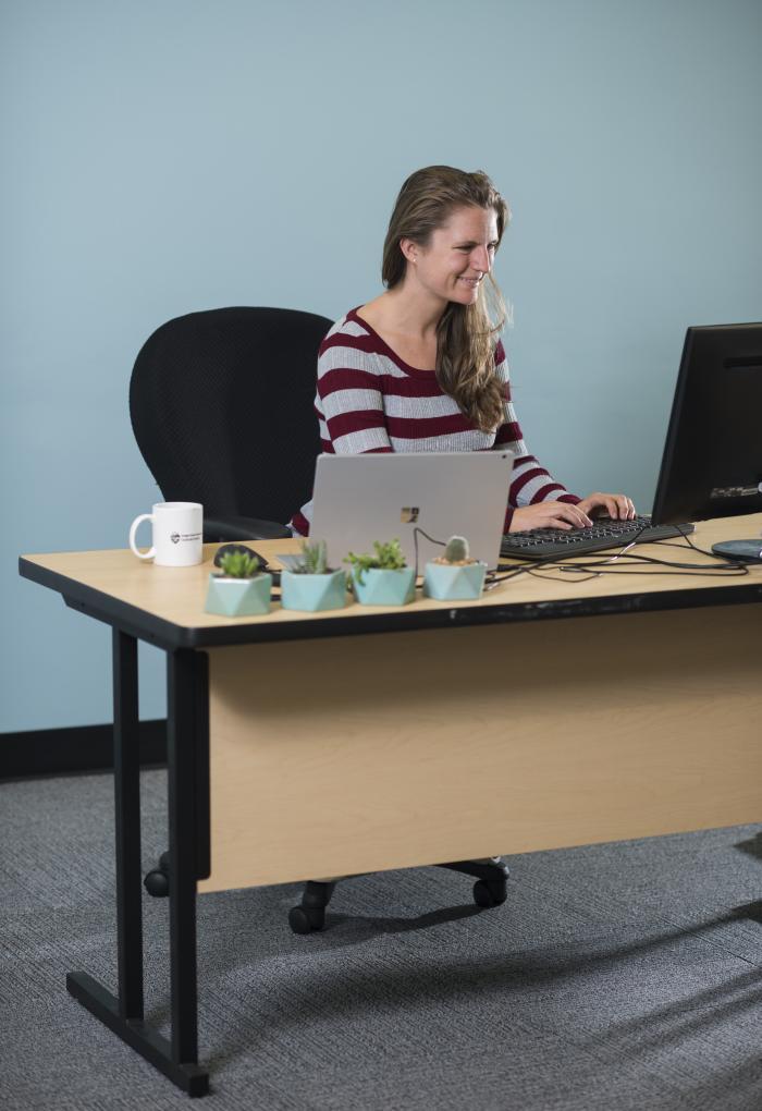 Christine Tataru sitting at a desk with a computer