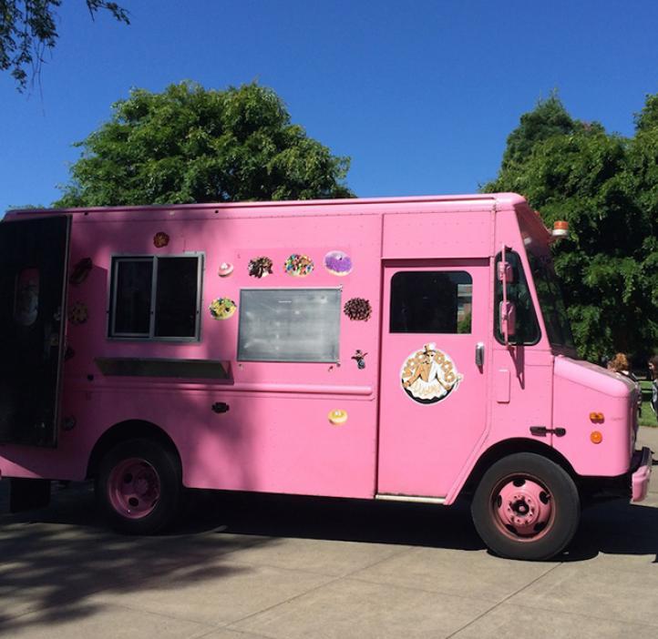 Voodoo Doughnut pink delivery truck