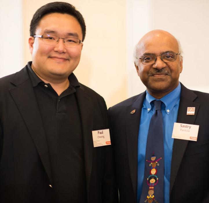 Dean Sastry Pantula and OSU Impact Award for Outstanding Scholarship recipient Paul Ha-Yeon Cheong, Chemistry