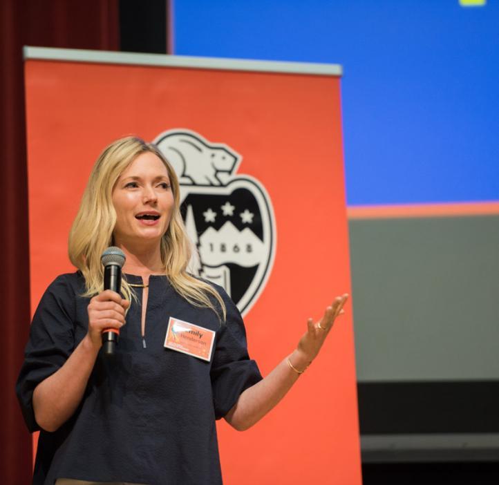 Emily Henderson speaking on stage
