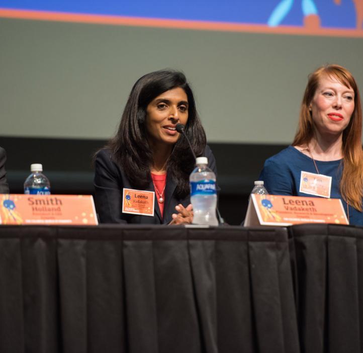 Leena Vadaketh speaking from panel seat