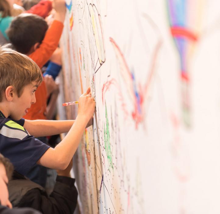 children coloring Crayola paper banner of crayon cartoons hiking