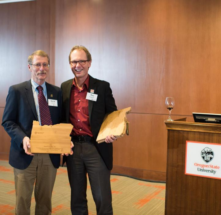 Dean Roy Haggerty (right) and a guest at the 2017 College of Science Alumni Awards