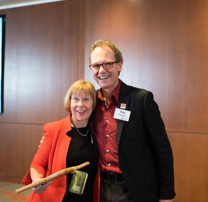 Distinguished Alumni Award winner Suzanne McGrath with Dean Roy Haggerty at the 2017 College of Science Alumni Awards