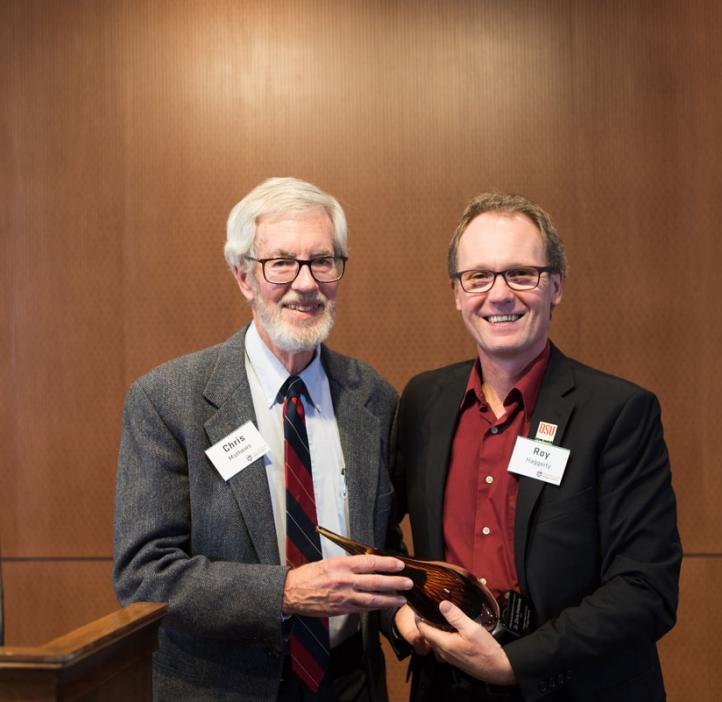 Biochemist Christopher Mathews receives Lifetime Achievement Award in Science from College of Science Dean Roy Haggerty