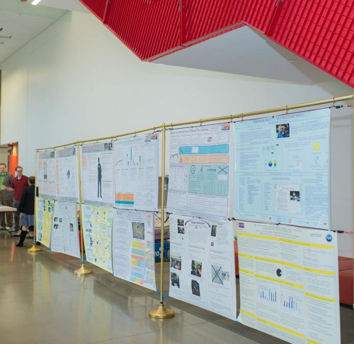 Student research posters lined up