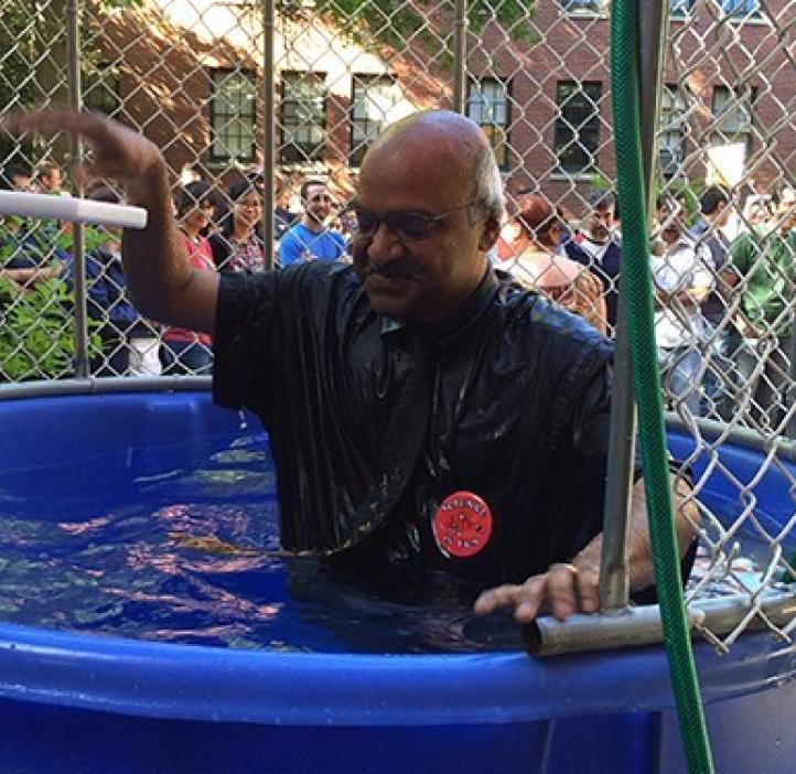 Dean Sastry Pantula gets dunked — for Science!