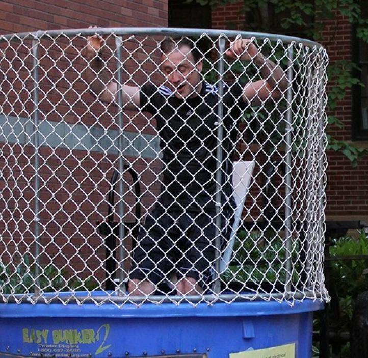 Chemistry's Jeffrey Walker in the dunk tank