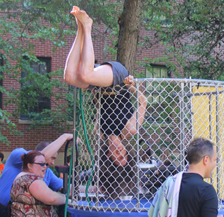 Dr. May Nyman in the dunk tank