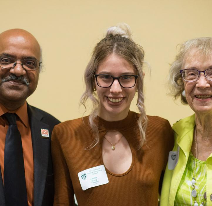 Scholarship winner with Sastry Pantula and scholarship donor
