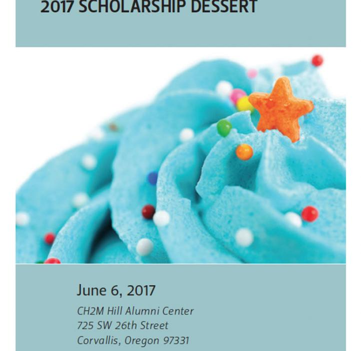 Scholarship Dessert event poster with blue cupcake