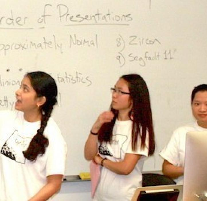 female students giving presentation in classroom