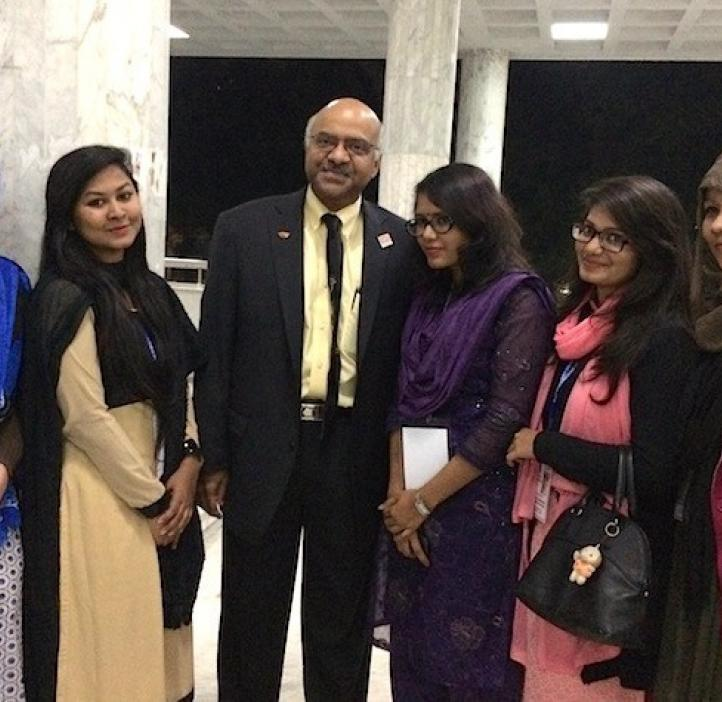 group photo of female students with Sastry Pantula in lobby