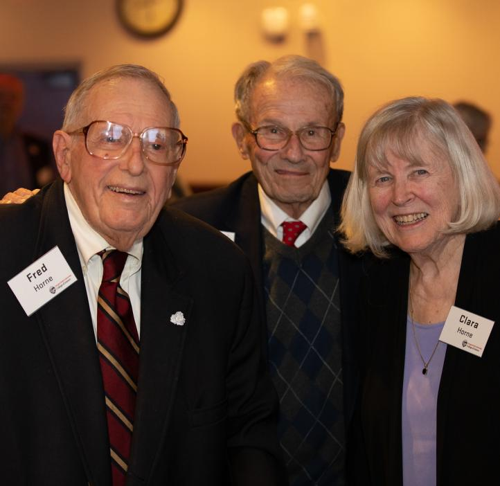 (L to R): Fred Horne, oceanographer John Byrne and Clara Horne
